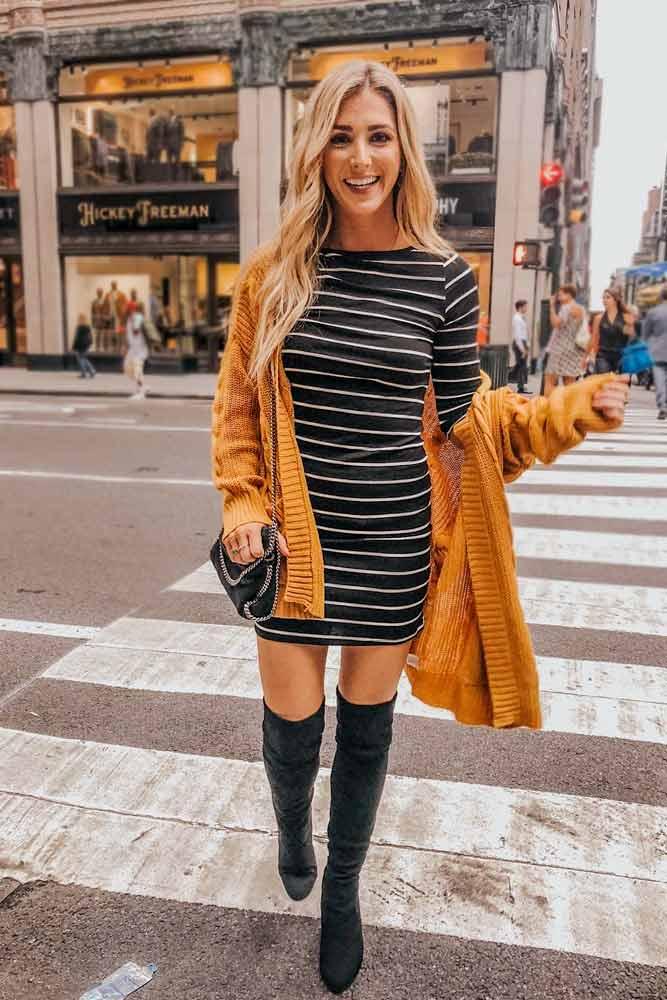 Dress With Warm Cardigan #cardigan