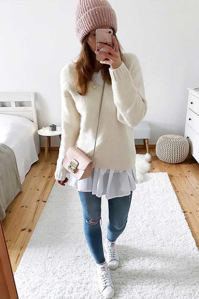 >Dress Combined With Jeans And Sweater #winteroutfits
