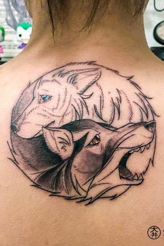 Yin Yang Wolves Back Tattoo #yinyangtattoo #backtattoo