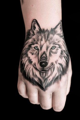 Wolf Tattoo Design For Fist #fisttattoo