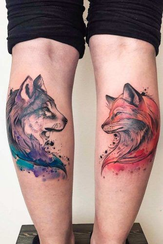 Watercolor Wolf And Fox Tattoo For Legs #foxtattoo #legtattoo #watercolortattoo