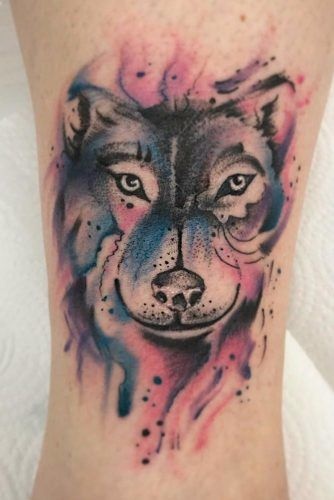 Watercolor Wolf Tattoo Idea #watercolortattoo