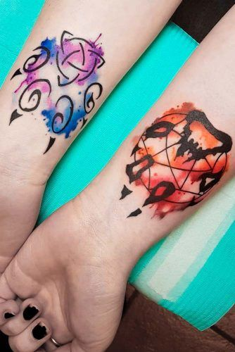 Watercolor Paws Tattoo Design #pawtattoo #watercolorpaw
