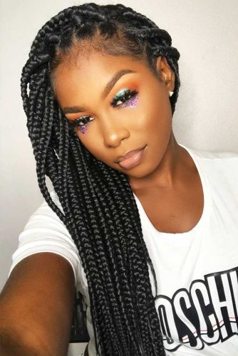 Side Parted Box Braids #braids