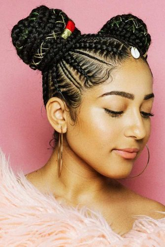 Box Braids Space Buns #braids #updo #buns