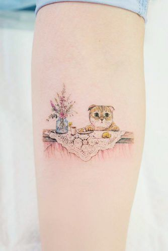 Watercolor Cat Tattoo Design #armtattoo