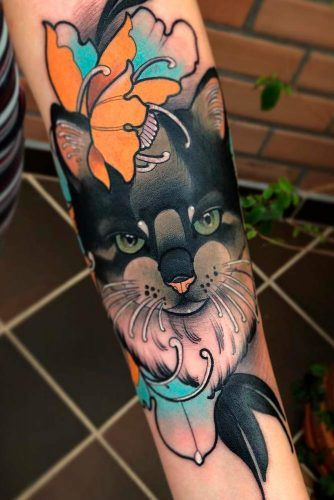 Black Cat With Flowers Tattoo Idea #blackcattattoo #armtattoo