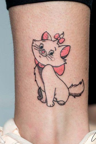 Cute Cat Tattoos From Cartoon #cartoontattoo