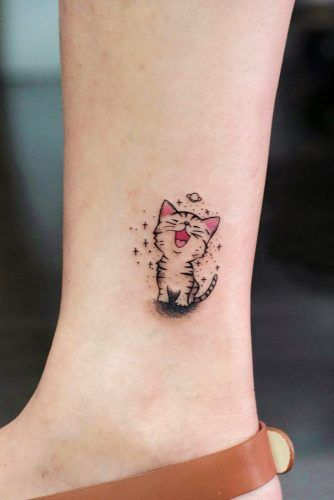 Cute Small Cartoon Cat Tattoo #cartoontattoo