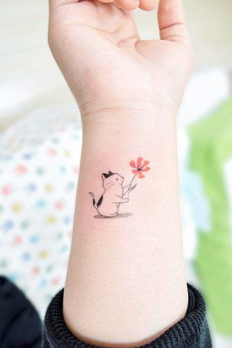Small Cat Tattoo Design For Wrist #wristtattoo