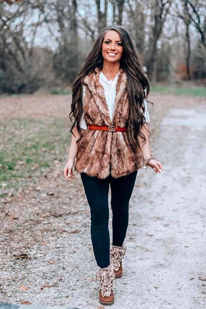 Elegant Belted Faux Fur Vest #fauxfurvest #furvest