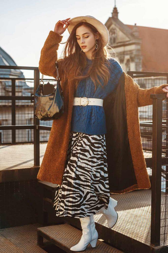 Faux Fur Coat with Midi Print Skirt