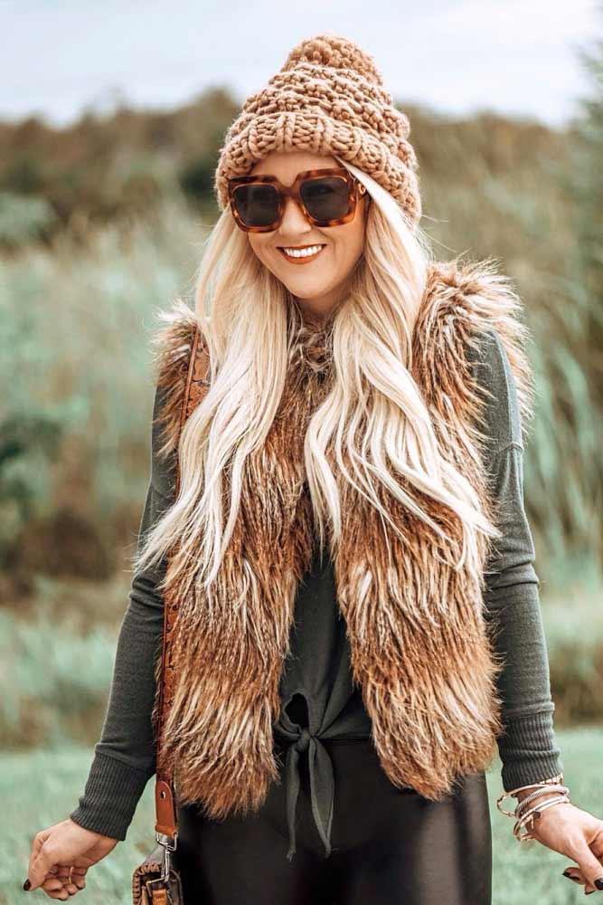 Faux Fur Vest With Leather Pants #furvest #brownfurvest