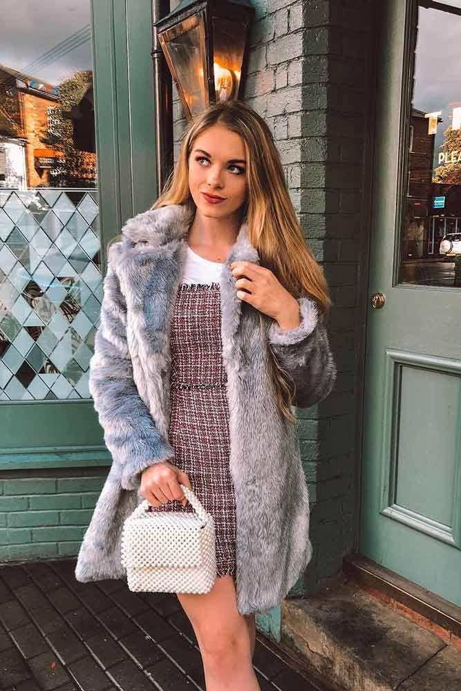 Faux Fur Coat And Plaid Dress