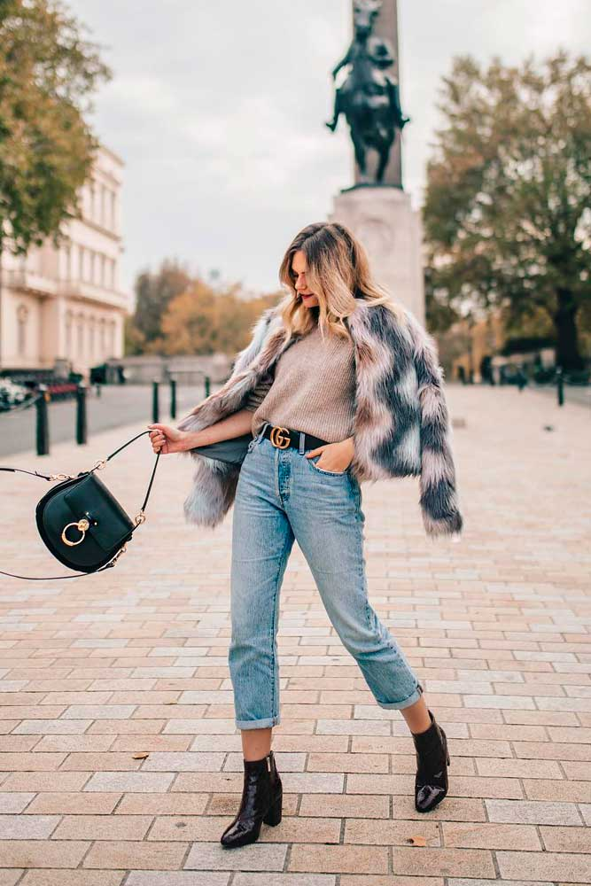 Colored Fur Jacket With High Jeans And Patent Leather Boots #leatherboots #colorfulfur