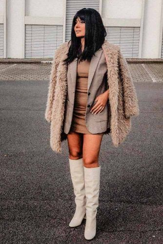 Faux Fur Coat With A Jacket And A Bodycon Dress Underneath #brownfurcoat #furcoat