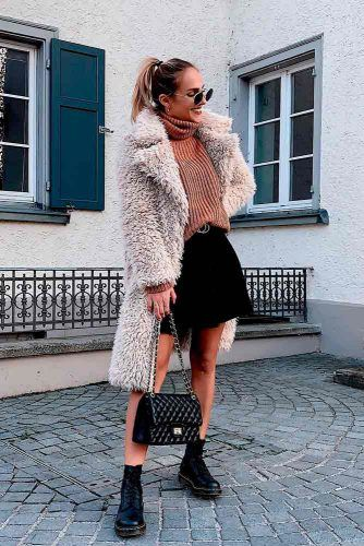 Long Faux Fur Coat, Sweater, And Short Skirt #longcoat