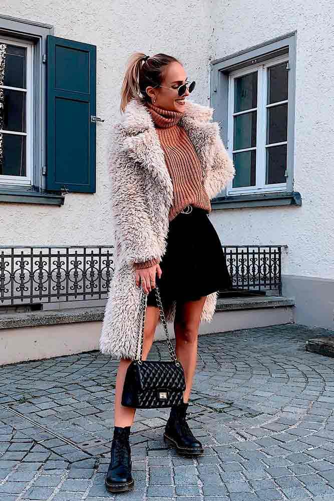 Long Faux Fur Coat, Sweater, And Short Skirt #longcoat