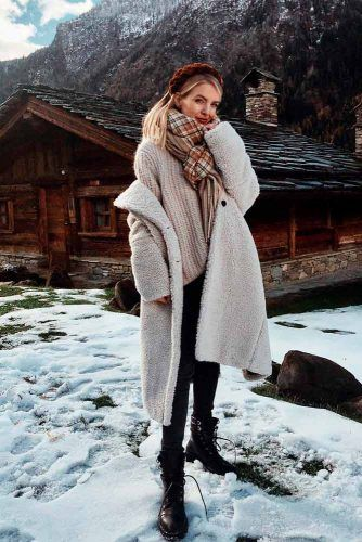 White Faux Fur Coat With A Sweater #longcoat #furcoat