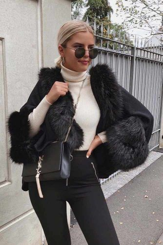Mantle Coat With Faux Fur