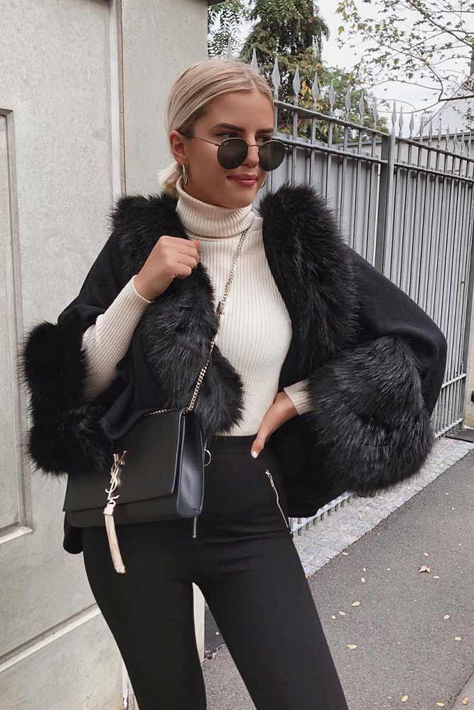 Mantle Coat With Faux Fur