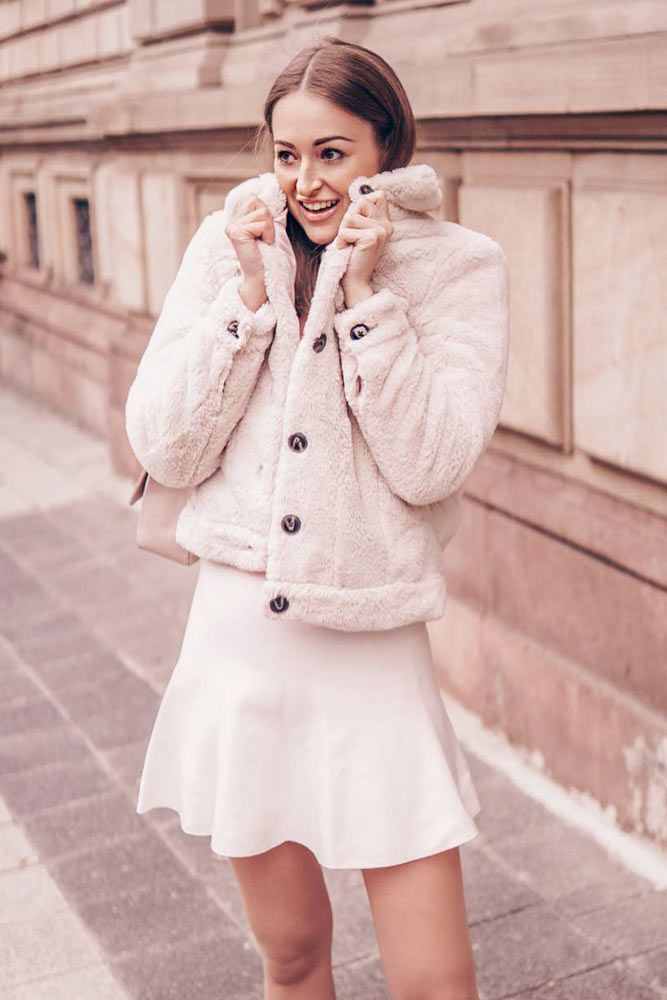 Monochromatic Look With Fur Jacket And Short Dress #monochromaticlook #milkfurjacket