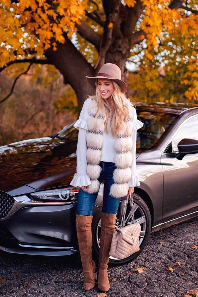 Fur Vest Combined With Hat And OTK Boots #hat #furvest