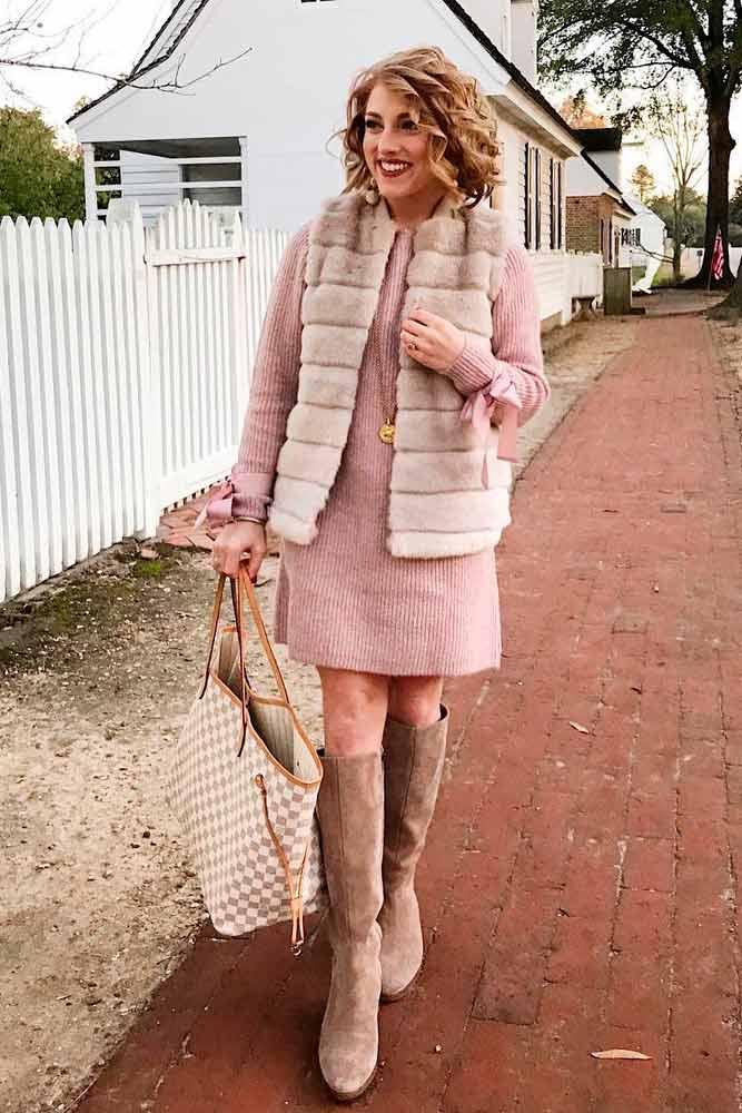 Fur Vest And Long-Sleeved Dress #pinkdress #furvest #fauxfurvest