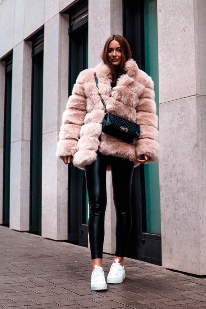 Oversize Fur Jacket With Leather Pants #oversizefur #leatherpants