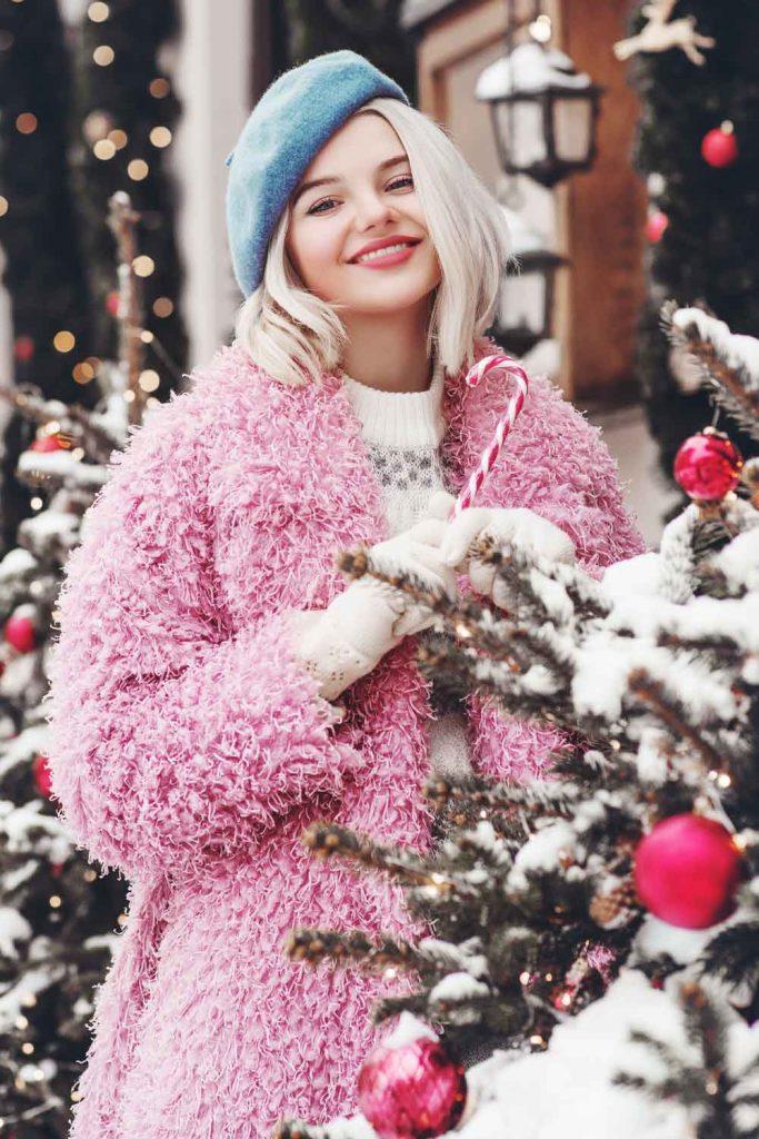 Pink Faux Fur Coat with Blue Beret