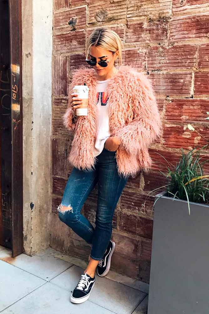 Faux Fur Jacket With Ripped Jeans