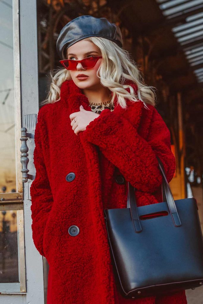Red Faux Fur Coat with Leather Beret