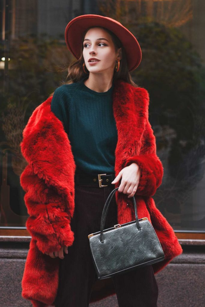 Red Faux Fur with Blue Sweater