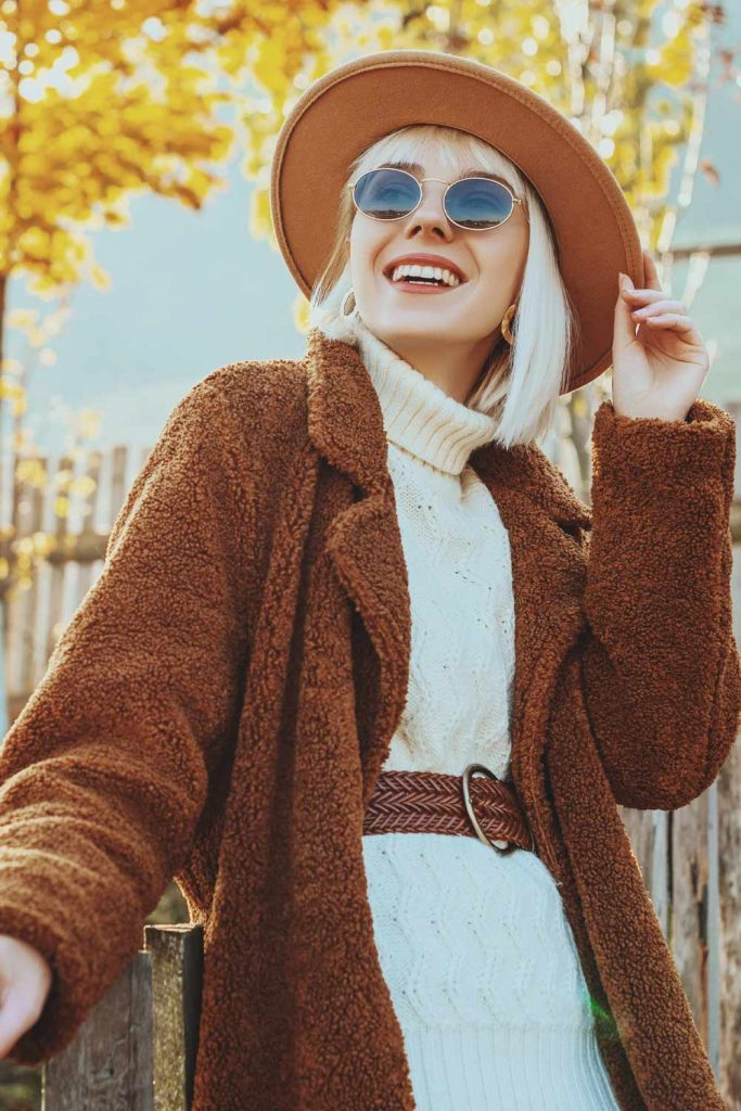 Brown Faux Fur with Brown Hat