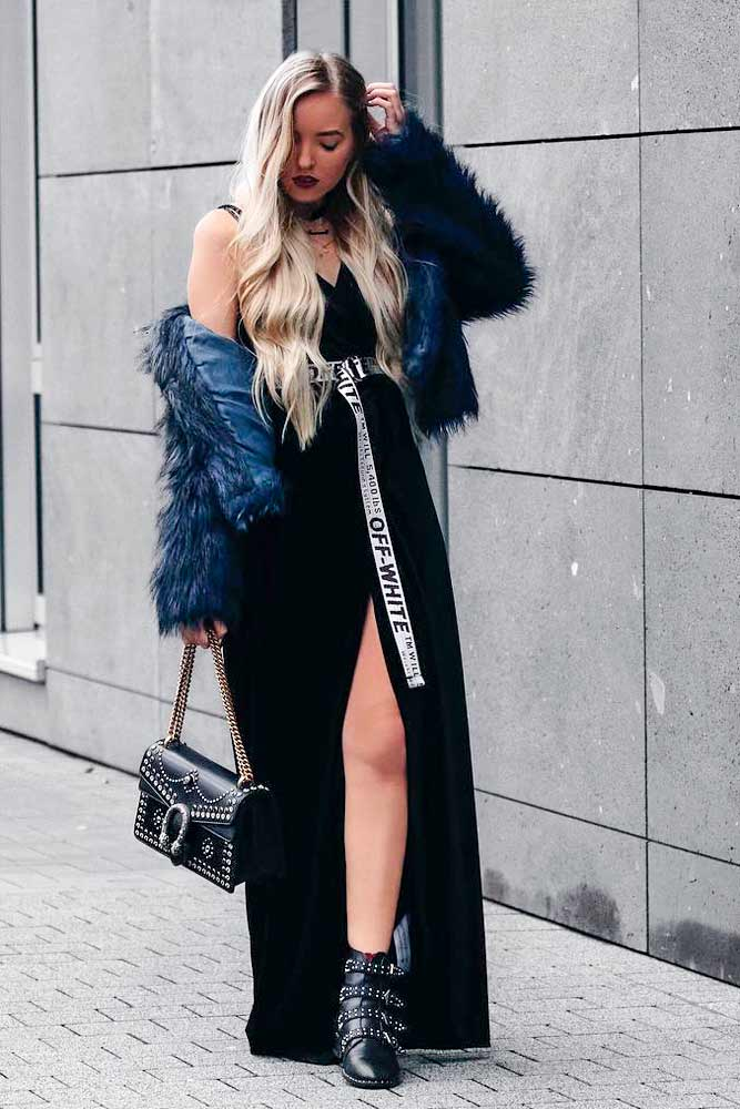 Short Faux Fur Jacket With Long Glamorous Dress #longdress #bluejacket