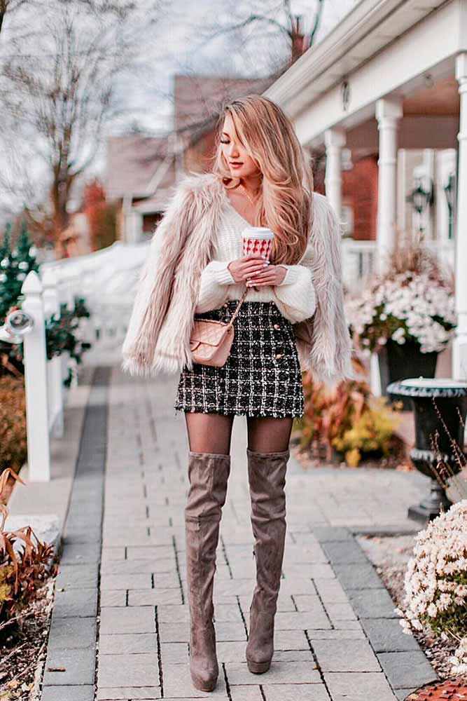 Faux Fur Jacket With Plaid Skirt And OTK Boots #otkboots #plaidskirt