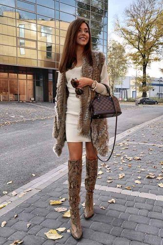 Faux Fur Vest And Snake Skin High Boots