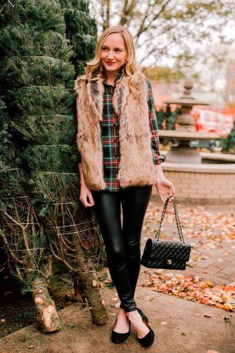 Faux Fur Vest With Plaid Shirt #furvest #plaidshirt