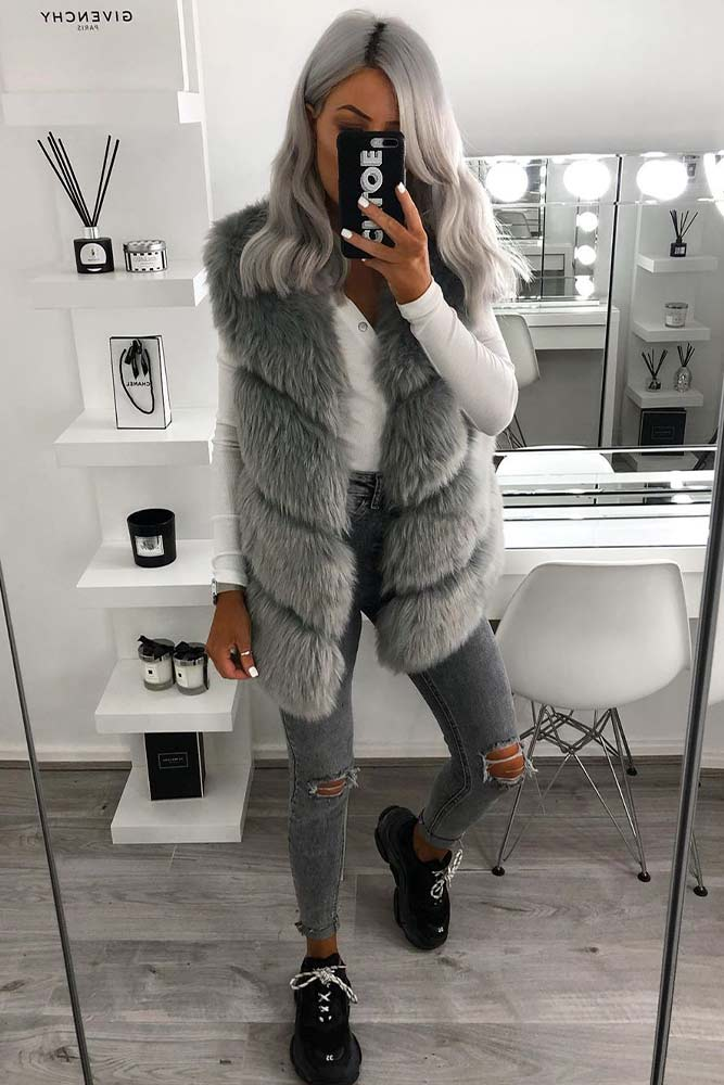 Grey Fur Vest With Matching Ripped Jeans