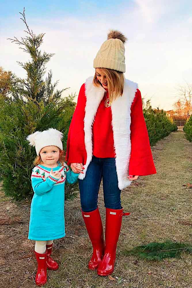 Christmas Themed Outfits With Red And White Colors #fauxfurvest #furvest