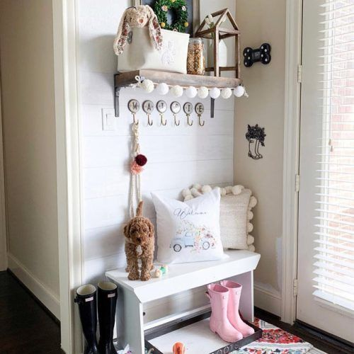 Mudroom Bench With Pillow Surface In Kids Room #kidsspace #spacestorage