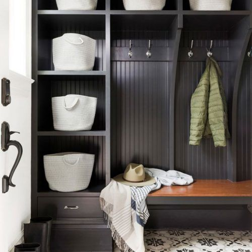 Black Mudrom Space With Storage Space #cubbies #baskets