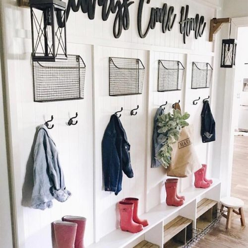 Rustic Mudroom Design With Hooks And Baskets #personalized #hooks