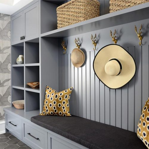 Mudroom Design With Cubbies And Lockers #hooks #cubbies