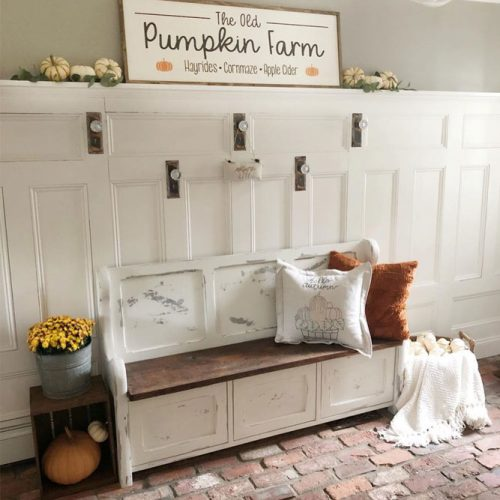 Vintage Mudroom Bench Design #vintagebench