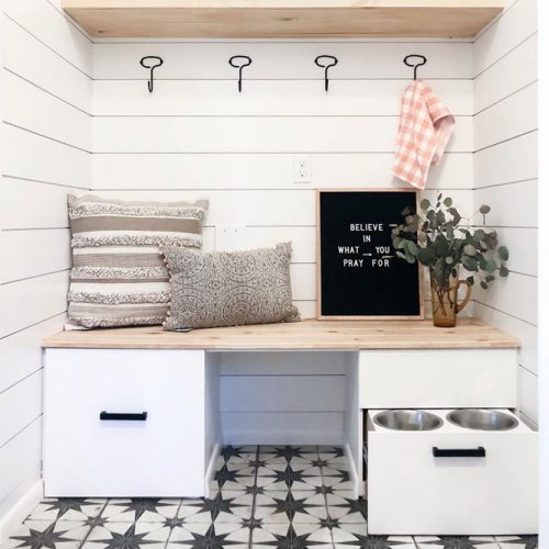 Mudroom Lockers With Space For Your Pets #lockers #pillows