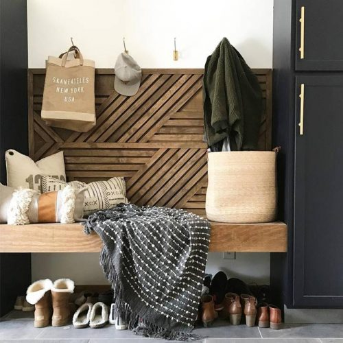 Modern Wood Mudroom Bench #modernwoodbench