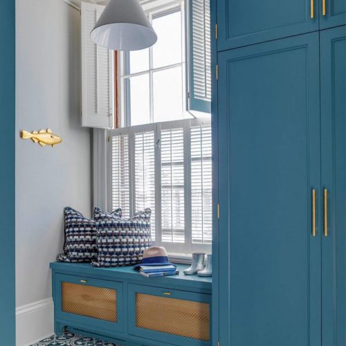Small Mudroom With Lockers Near The Window #mudroomwithwindow
