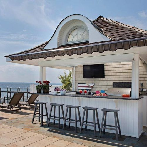 Outdoor Kitchen With Simple Bar #whitecolors #bar