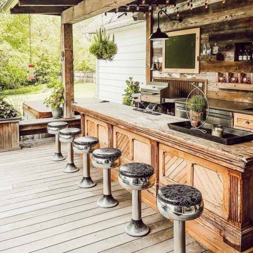 Wooden Outdoor Kitchen With Bar #bar #woodendesign